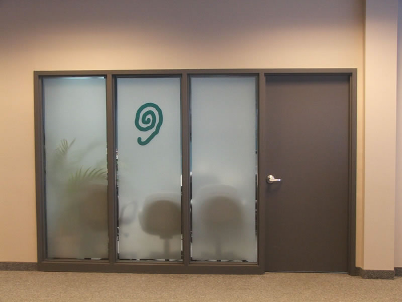 Window frosting and logo for privacy